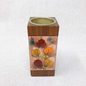 Vintage Candleholder, 70s wood and glass